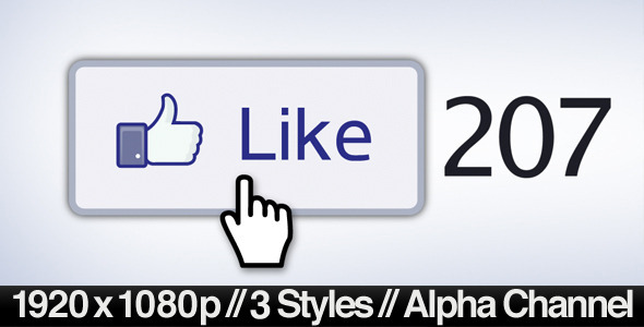 VideoHive Facebook Liked Button Clicked 3 Styles & Alpha 1969780