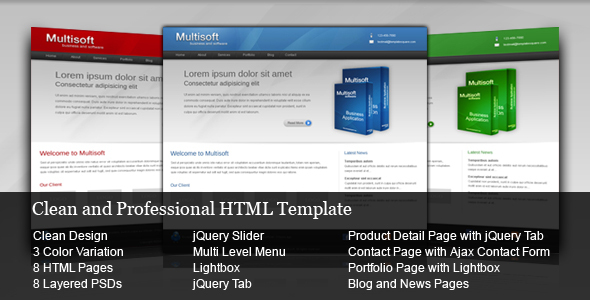 ThemeForest Multisoft Clean and Professional HTML Template 77783