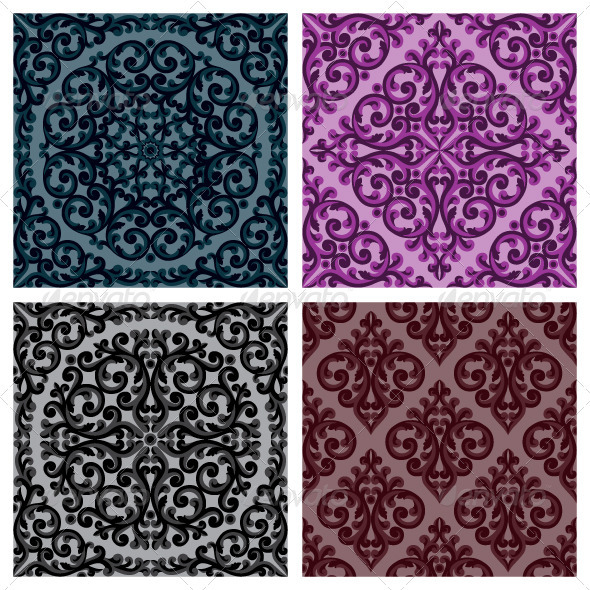 Seamless floral patterns set