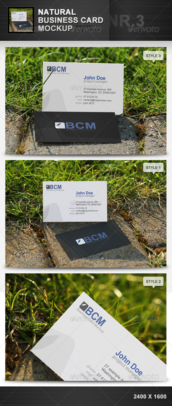 GraphicRiver Natural Business Card Mockup 3 1952749