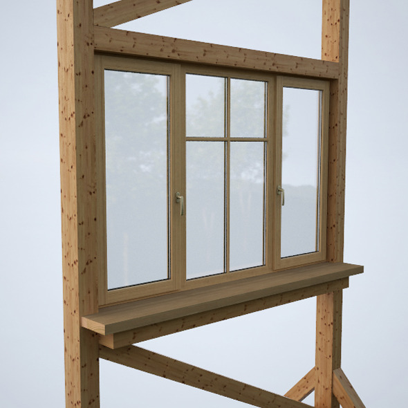 Wood window 1 - 3DOcean Item for Sale
