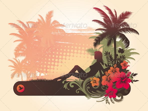 Tropical Illustaration with Girl Silhouette