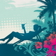 Girl Silhouette on a Tropical Landscape - GraphicRiver Item for Sale