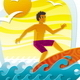 Surfer in Tropical Sea - GraphicRiver Item for Sale