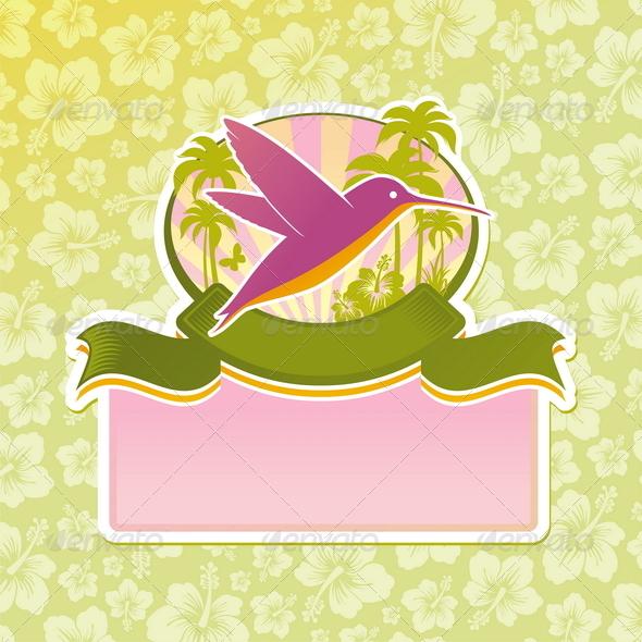 Travel Emblem with Hummingbird