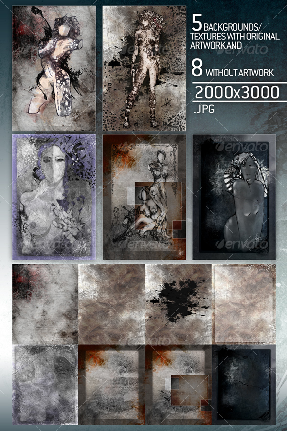 5 art pieces plus 8 textures/backgrounds used