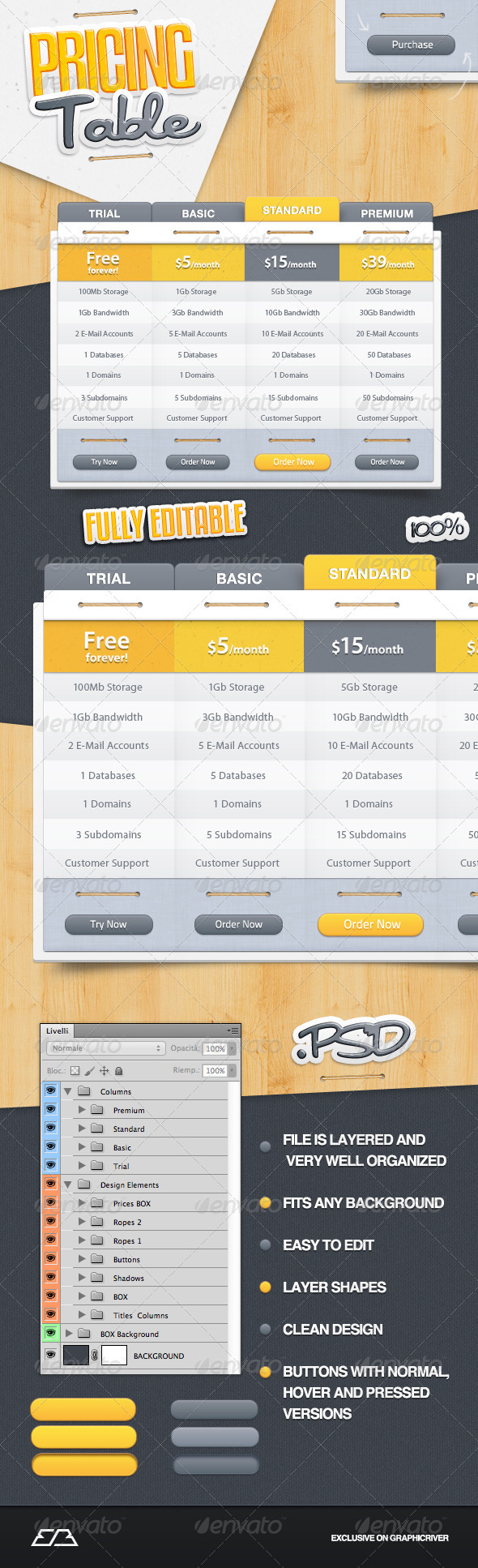GraphicRiver Pricing Table 2069526