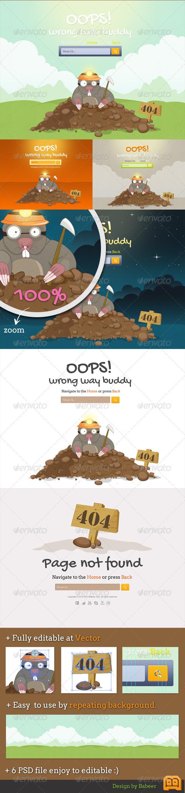 GraphicRiver Mole 404 Error Pages 2070854