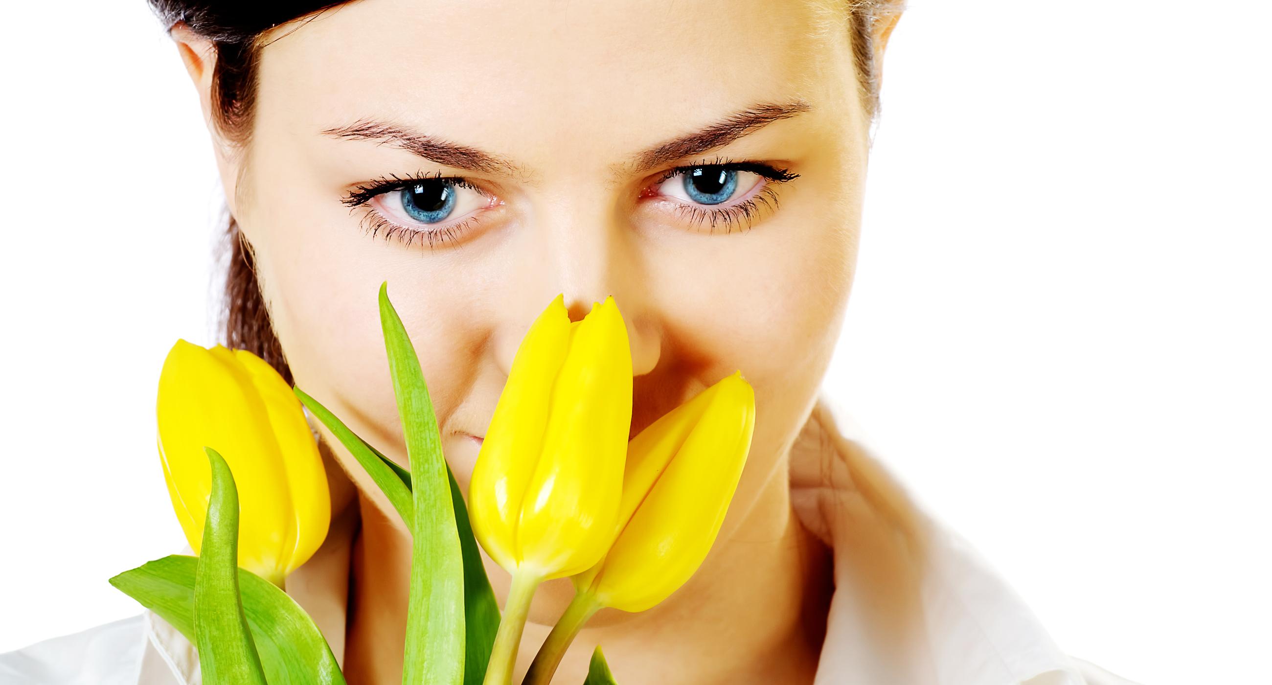 Girl in tulips