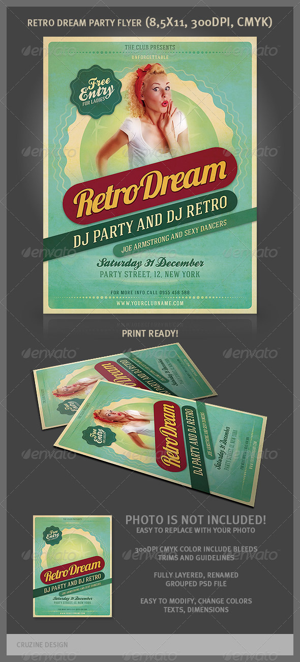 Retro Dream Party Flyer - Clubs & Parties Events