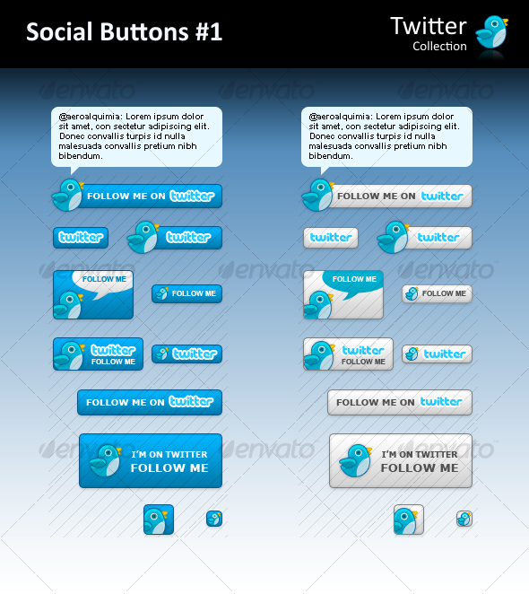 GraphicRiver Twitter Social Buttons #1 77889