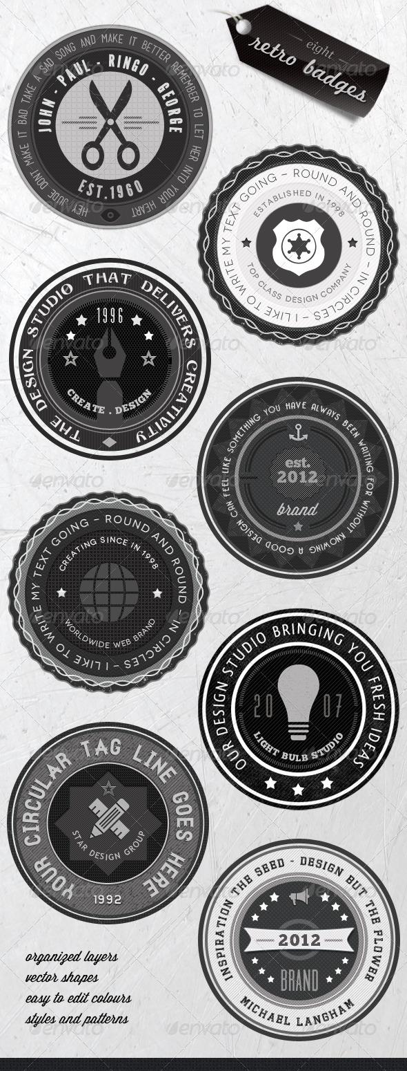 Retro Badges - Faded Vintage Labels - V.3 - Badges & Stickers Web Elements