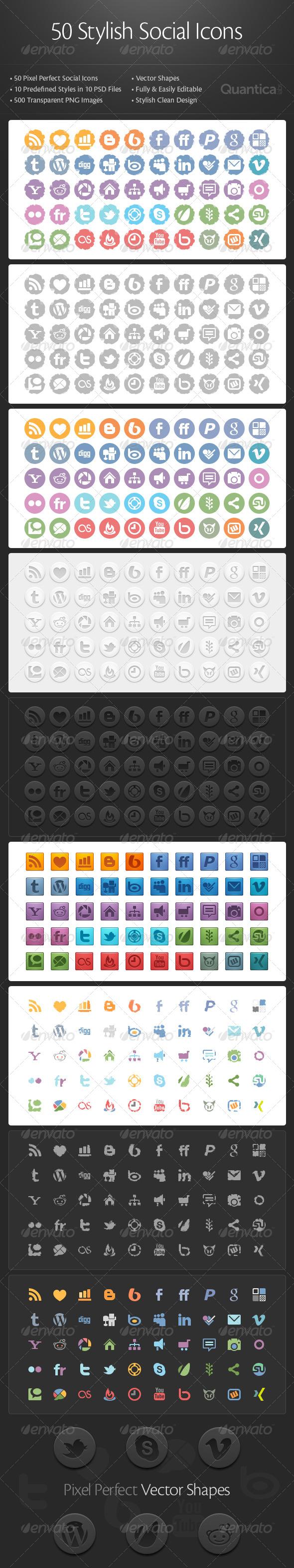 GraphicRiver 50 Stylish Social Icons 238443