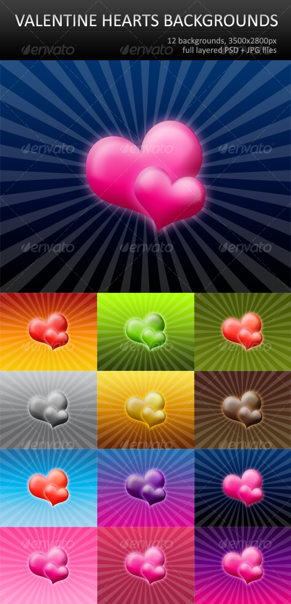 GraphicRiver 12 Valentine hearts backgrounds 78958