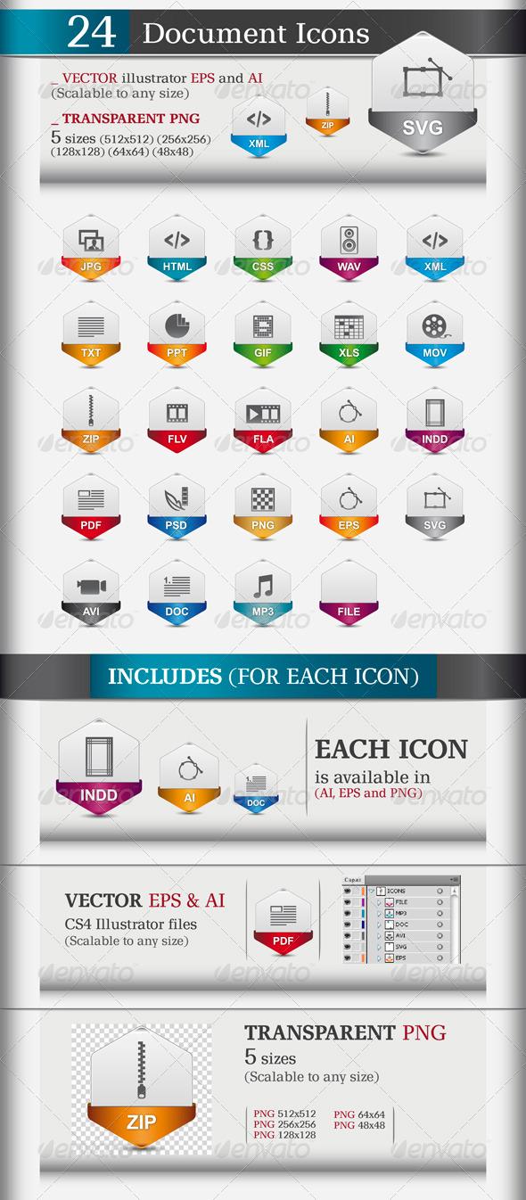 24 Document icons - Web Icons