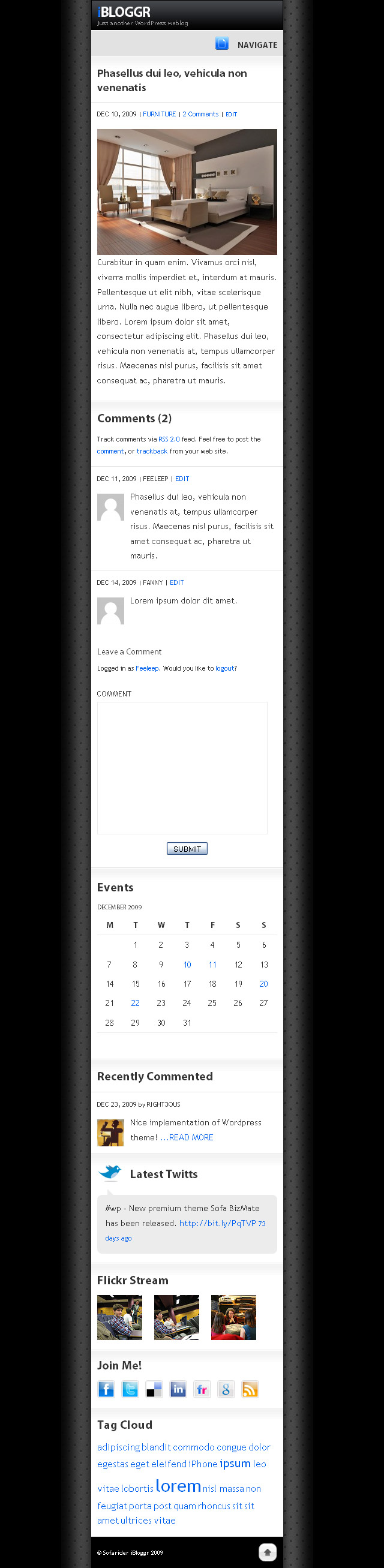 SOFA iBloggr - WordPress iPhone theme - Post details page screenshot for iBloggr (iPhone) WordPress theme.