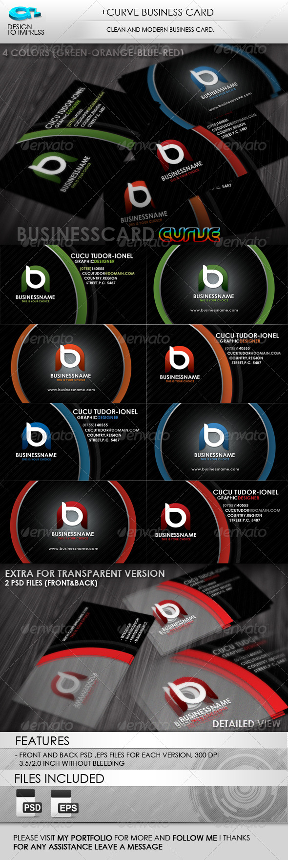 GraphicRiver &Curve Business Card 238556