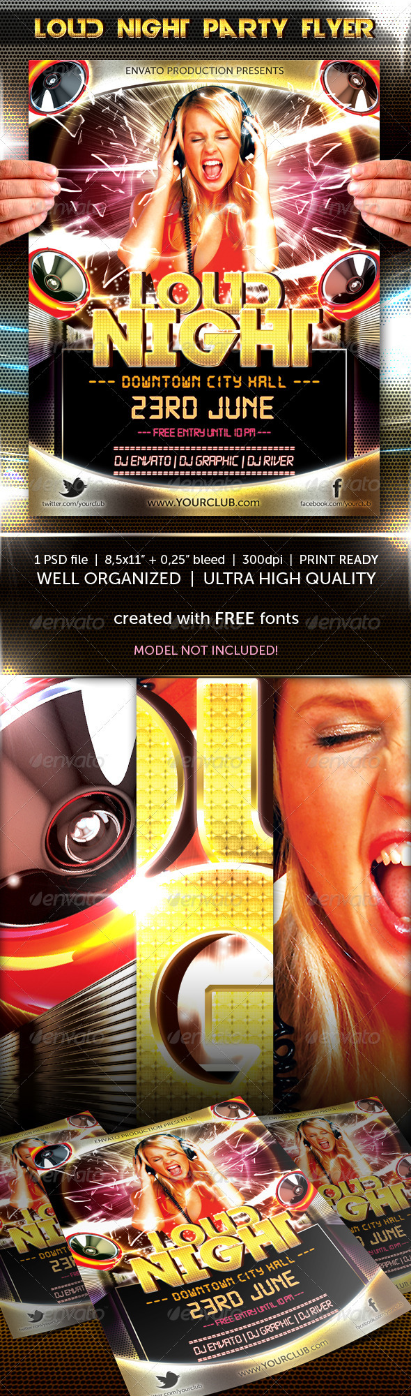 Loud Night party flyer - Flyers Print Templates