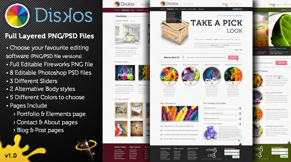 Diskos - Creative PSD Website Template - This is the preview page.   You can see a quick promotional preview of the theme.