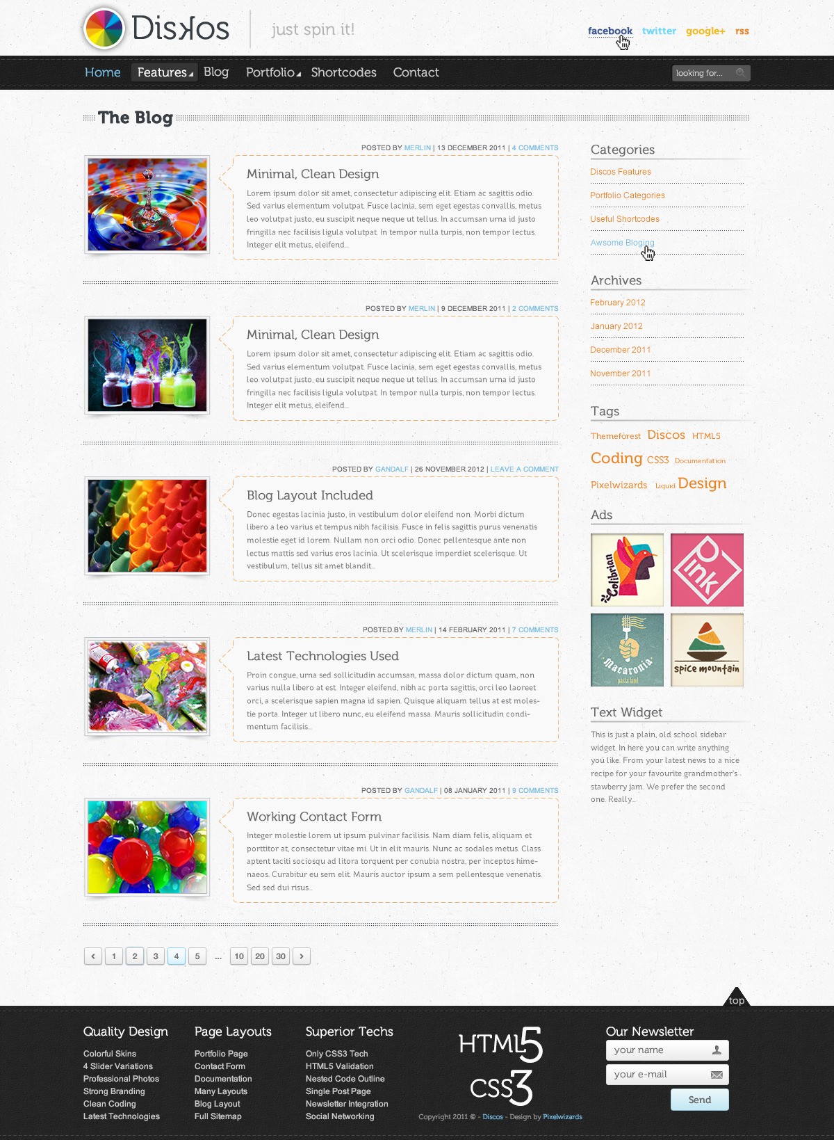 Diskos - Creative PSD Website Template - This is the Blog category preview.   Here you can see the default version of the Blog category page with the various elements (posts, sidebar) included.