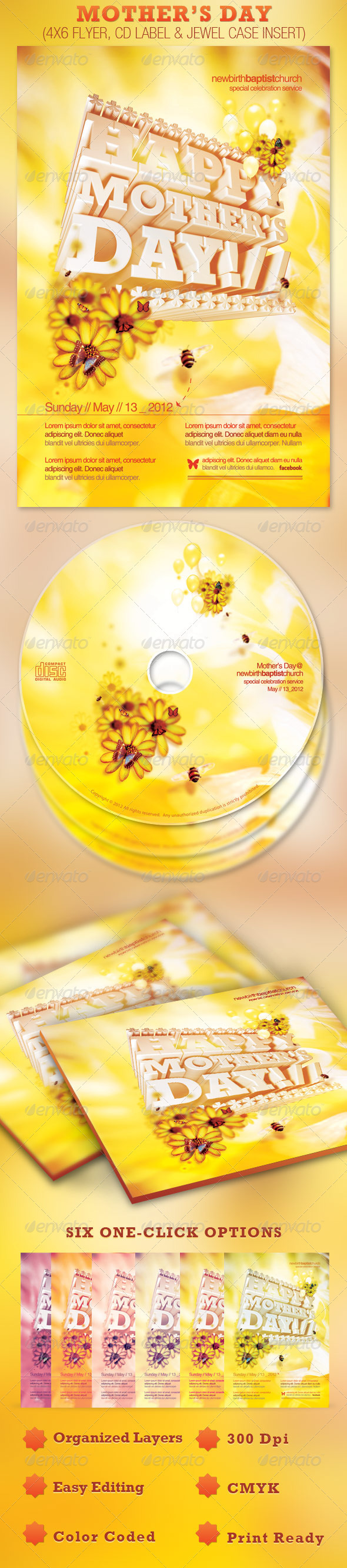 Mother's Day Church Flyer and CD Template - Church Flyers