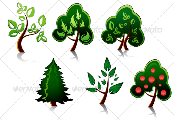 GraphicRiver Set of tree symbols 79423