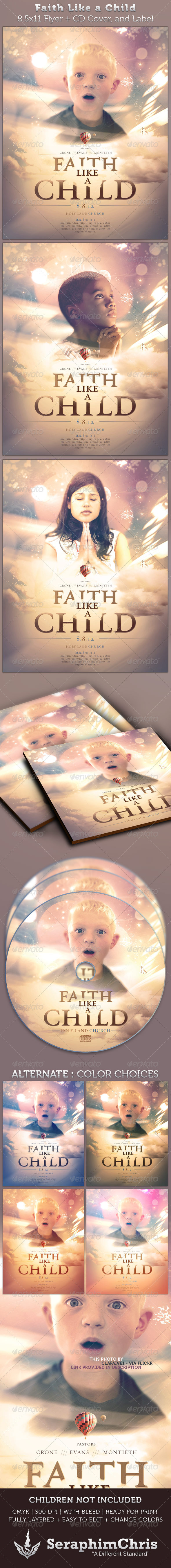 Faith Like A Child Full Page Flyer and CD Cover - Church Flyers