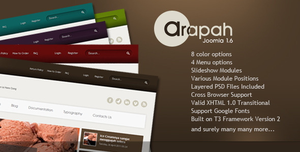 ThemeForest Arapah Simple and Clean Joomla 1.5 & 1.7 238831