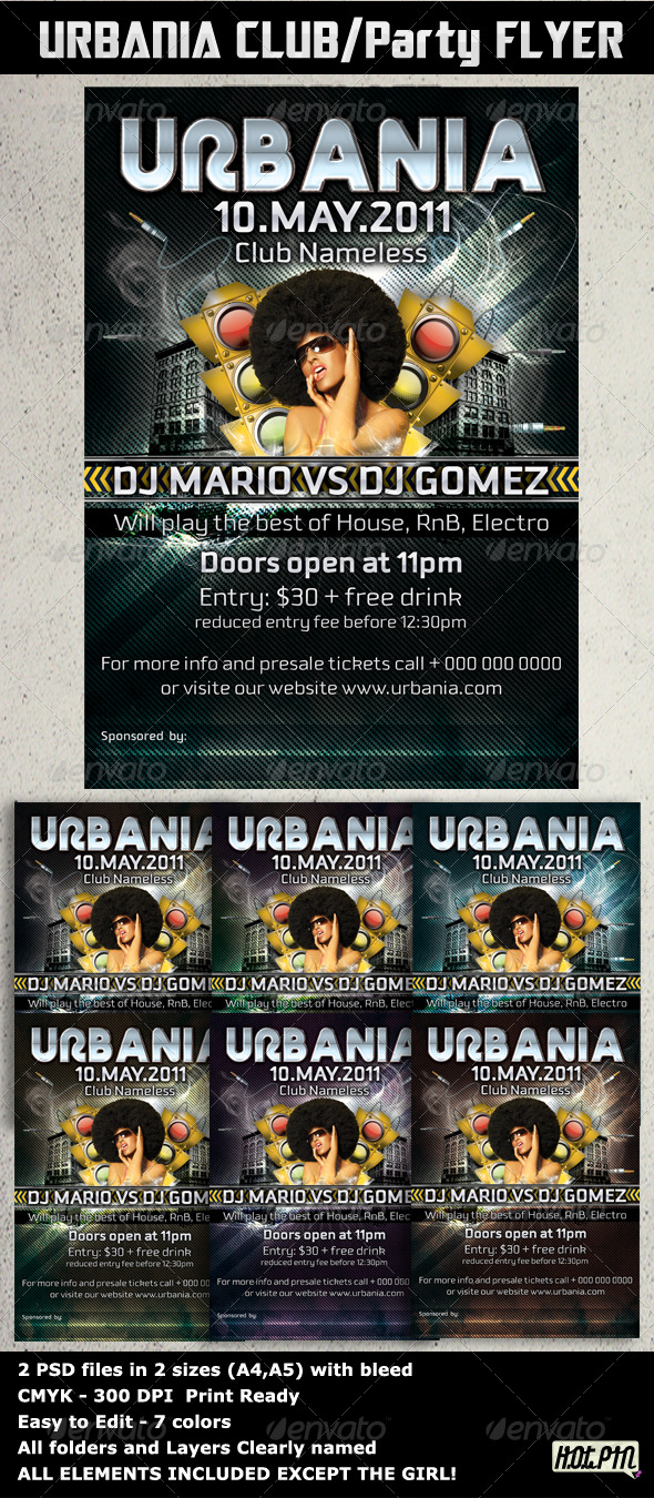 GraphicRiver URBANIA PARTY FLYERS template 238951