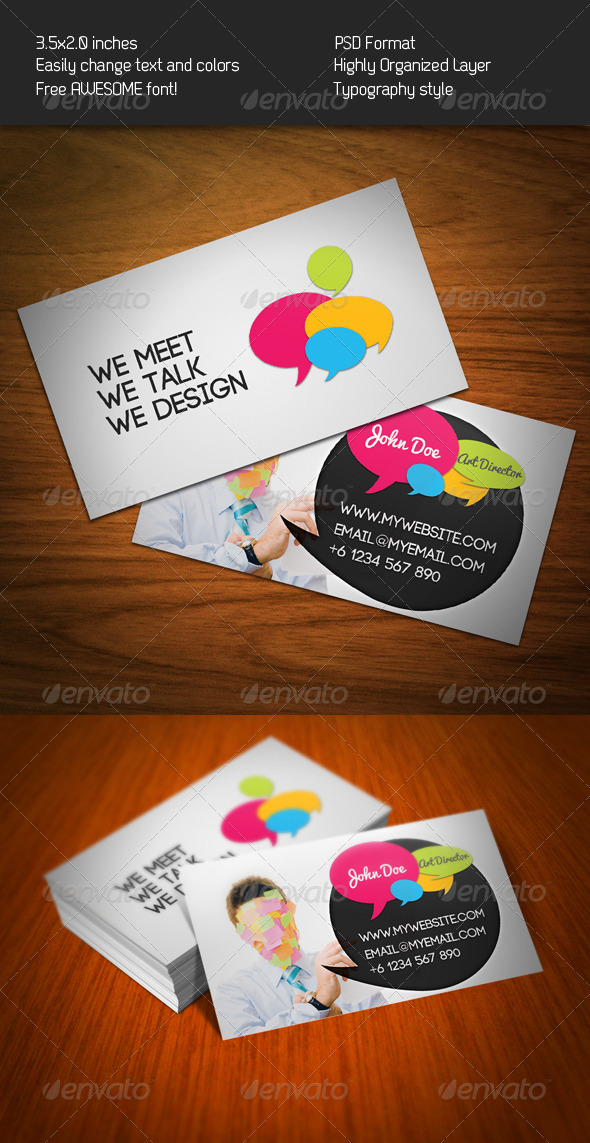GraphicRiver Bubble Talk Business Card 235235