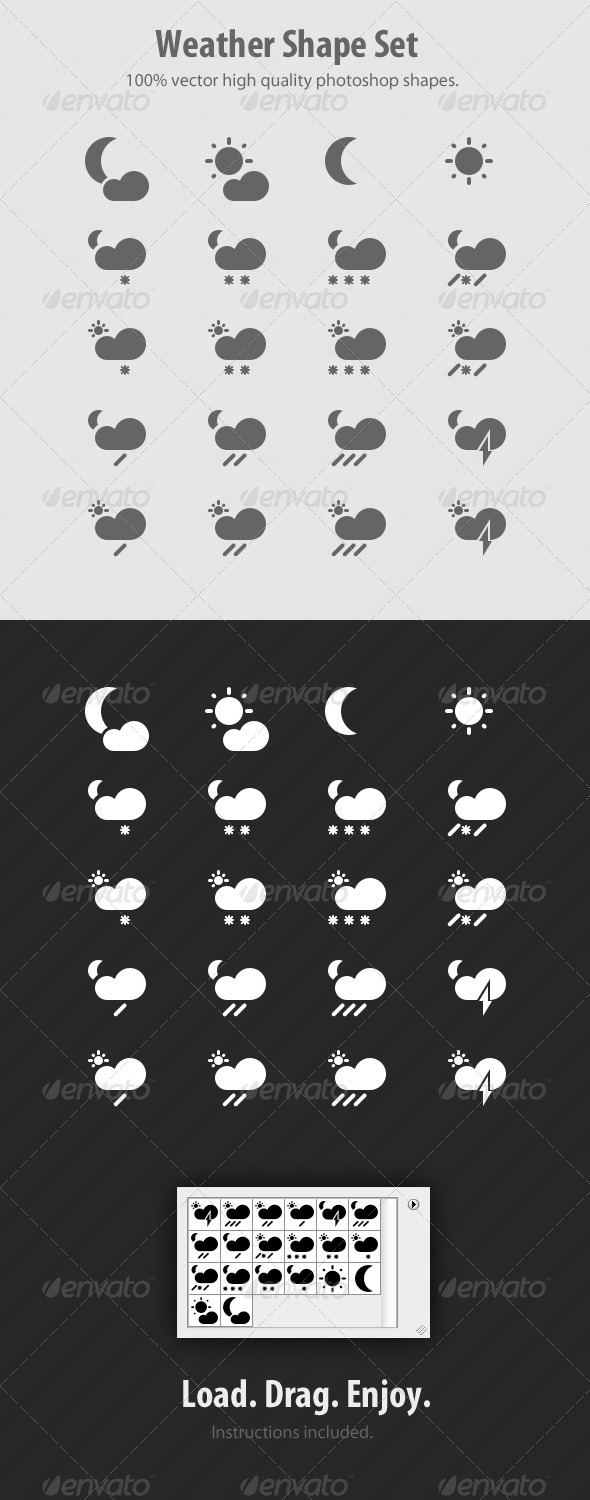 GraphicRiver Weather Photoshop Custom Shapes Set 239001