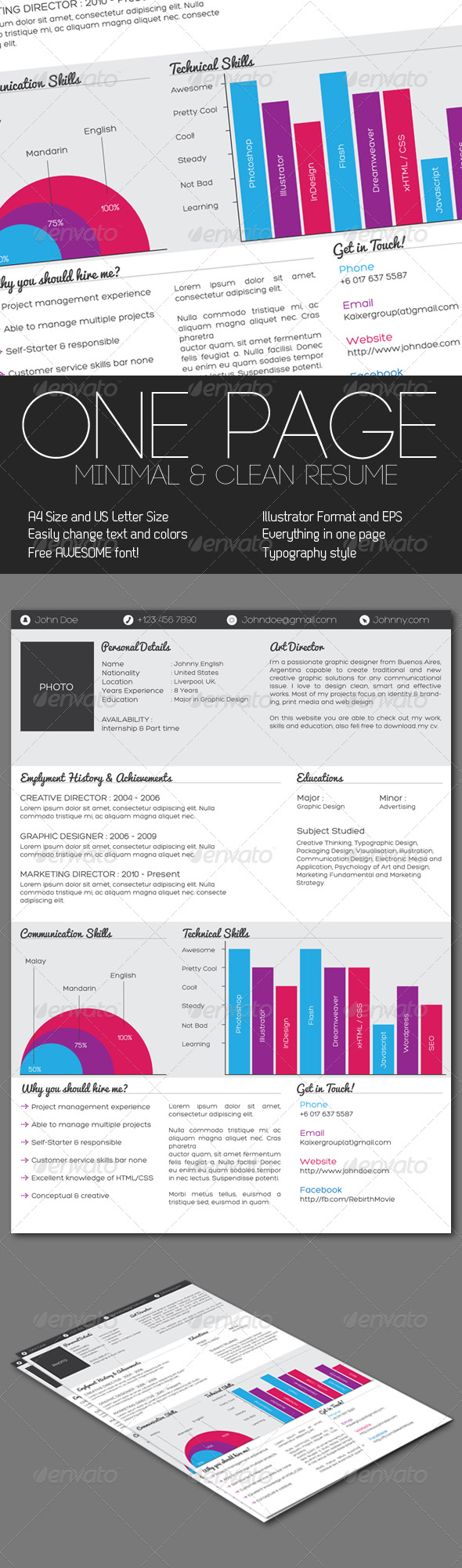 GraphicRiver Clean One Page Resume 238068