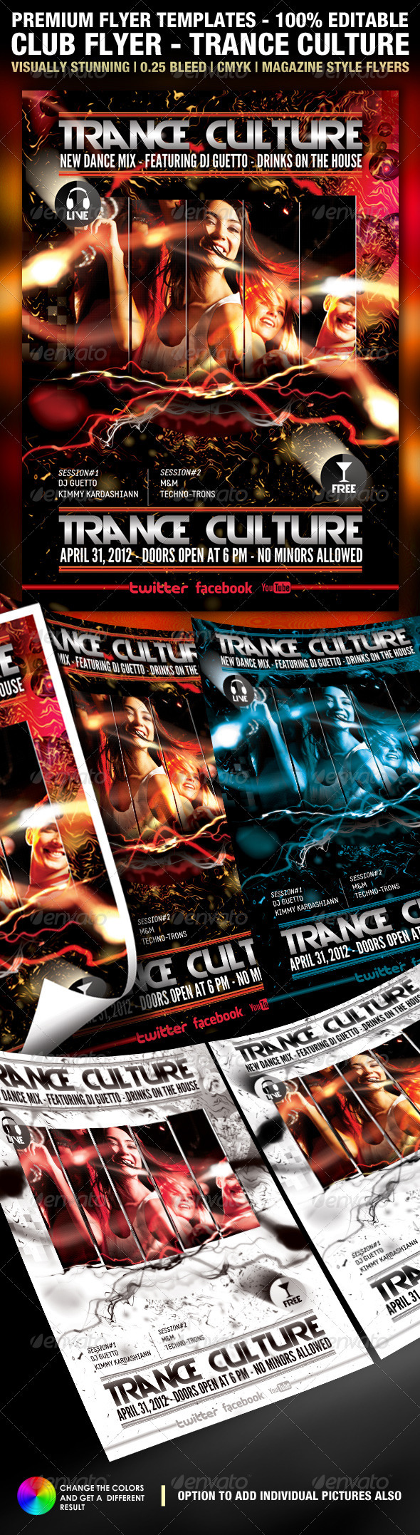 Trance Culture Flyer PSD Template - Clubs & Parties Events