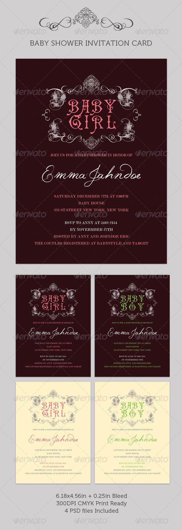 GraphicRiver Baby Shower Invitation Card 239138