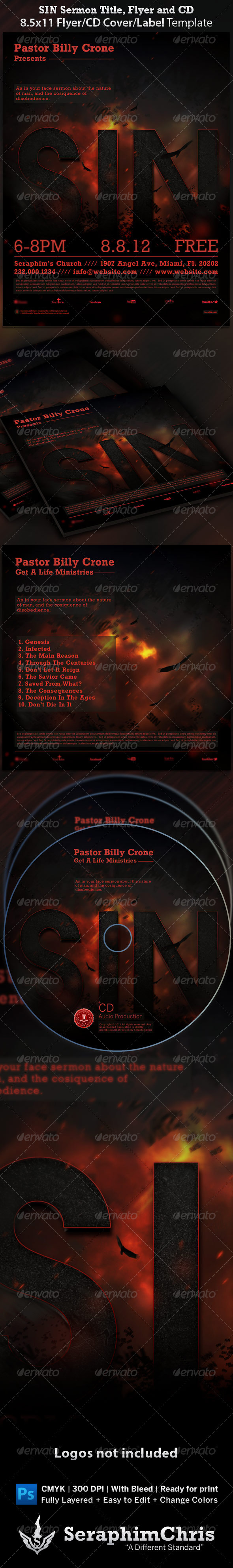 Graphic River Sin Sermon Title Flyer and CD Cover Template Print Templates -  Flyers  Church 1403791