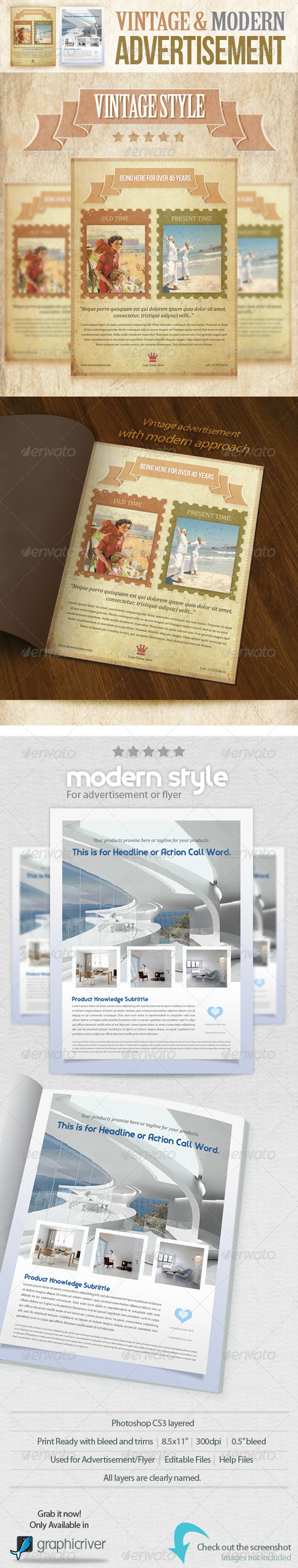 Vintage and Modern Advertisement PSD Template - Corporate Flyers