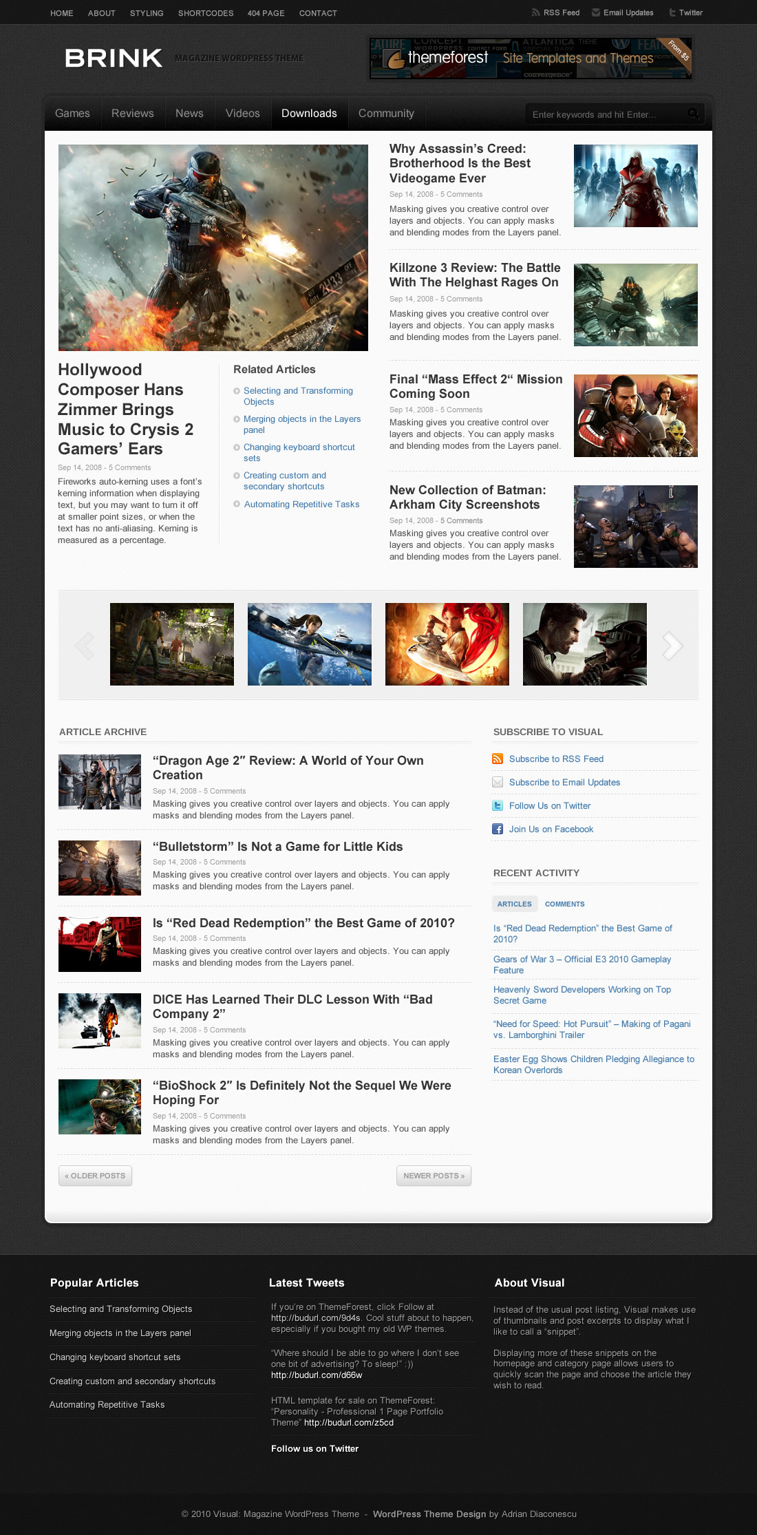 Brink - Magazine WordPress Theme - Category Page Dark Skin