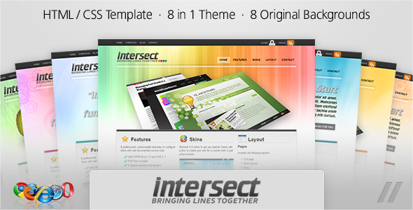 ThemeForest Intersect HTML Template 8 in 1 skins 77440