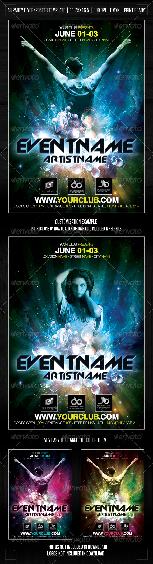 Nightclub Space Party Poster/Flyer Template - Clubs & Parties Events