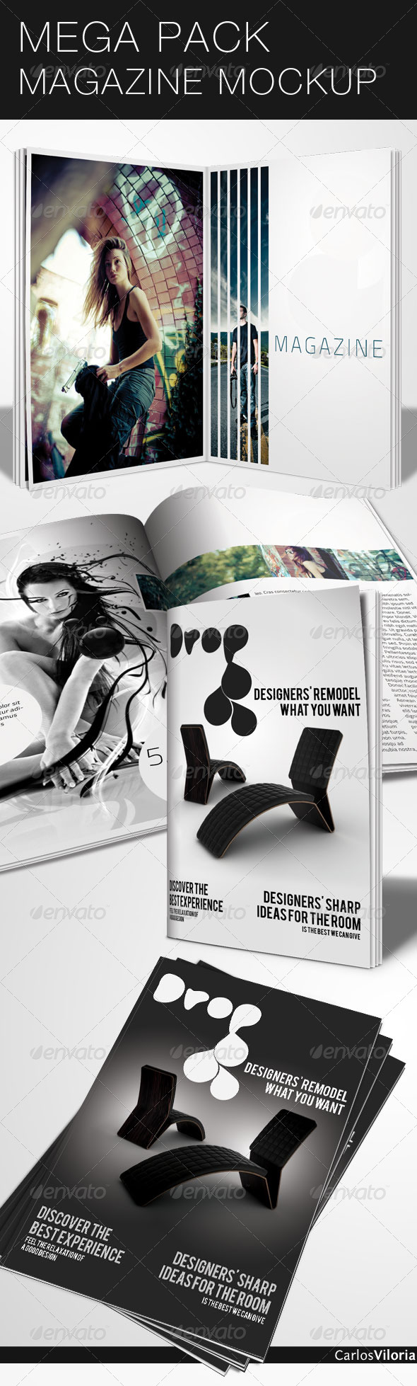 GraphicRiver Mega Pack Magazine Mock-Up 46486