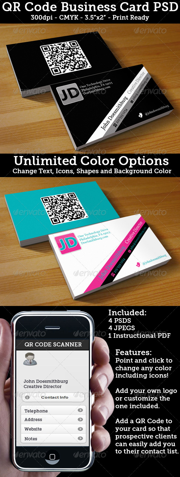 QR Code Business Card Unlimited Colors