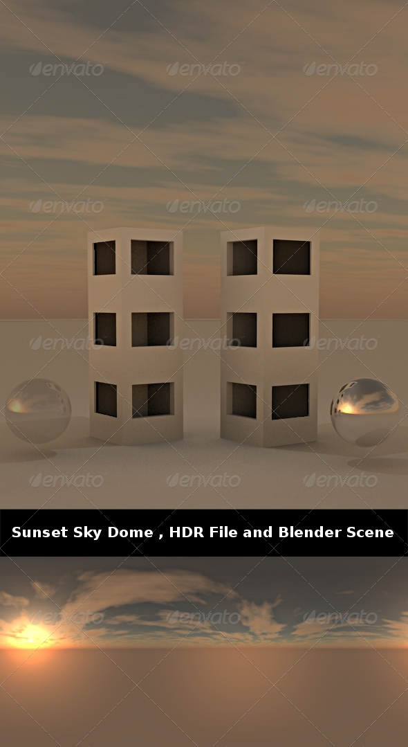 3DOcean Sunset Sky Dome HDR File and Blender Scene 239861