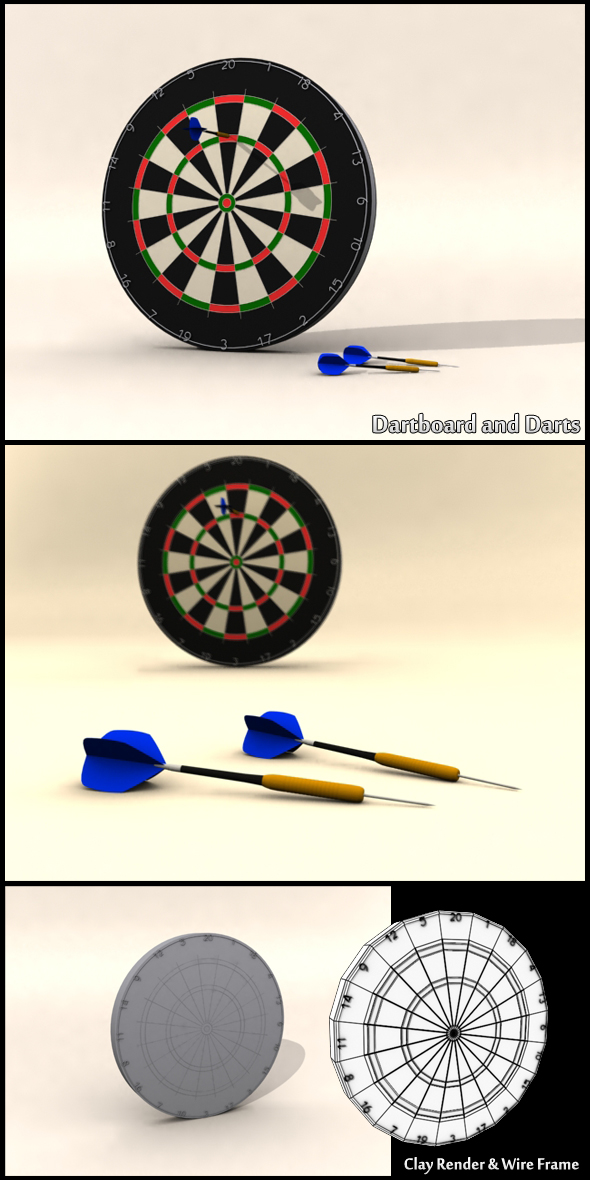Dartboard and Darts - 3DOcean Item for Sale