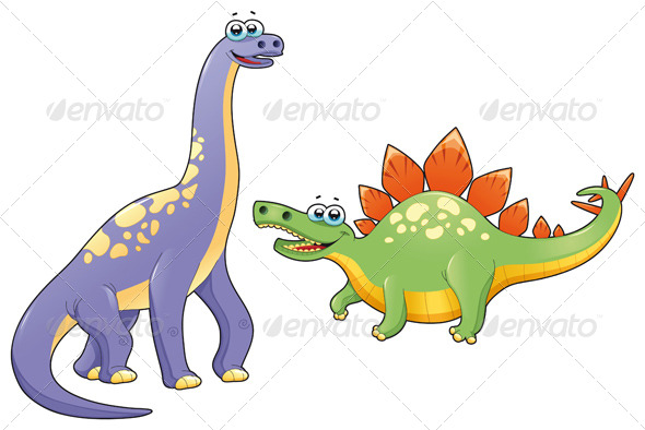 Couple of funny dinosaurs