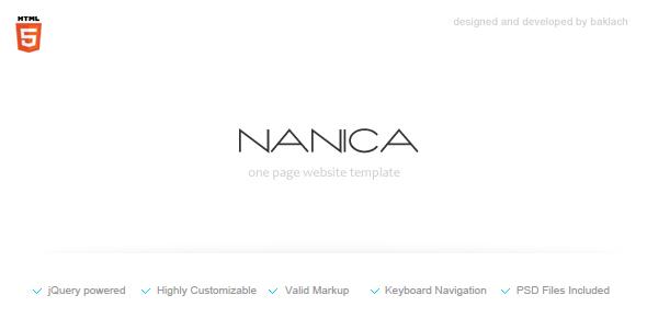 NANICA - One Page Portfolio Template - Screenshot 1. Preview image.