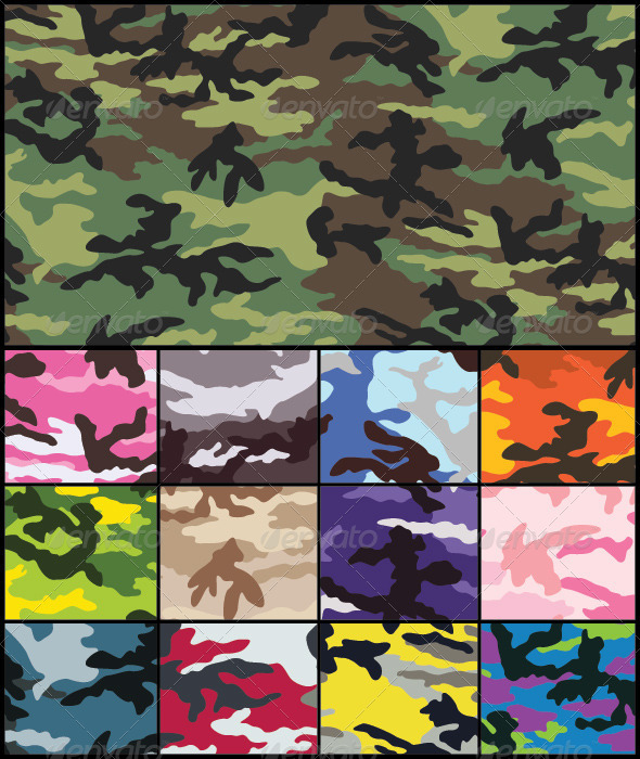 Woodland Camouflage Seamless Pattern Set - Patterns Decorative