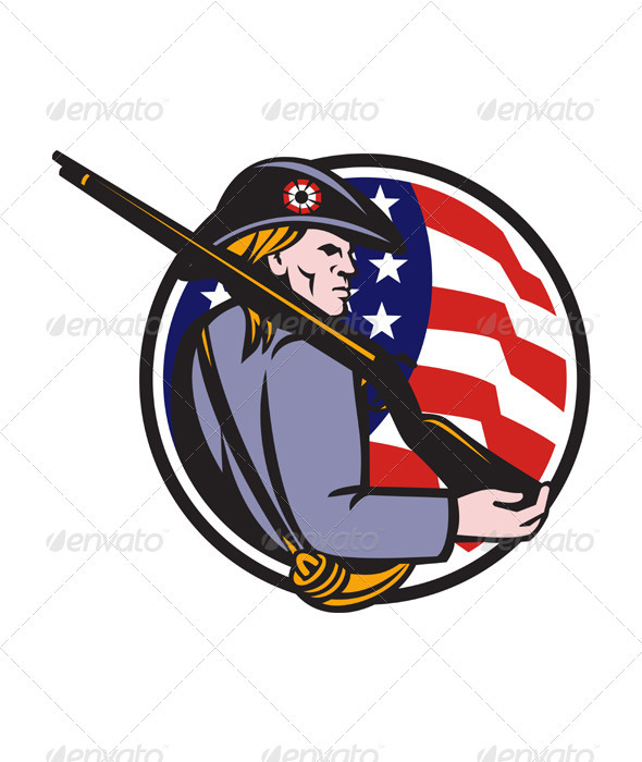 American Patriot Minuteman With Rifle And Flag