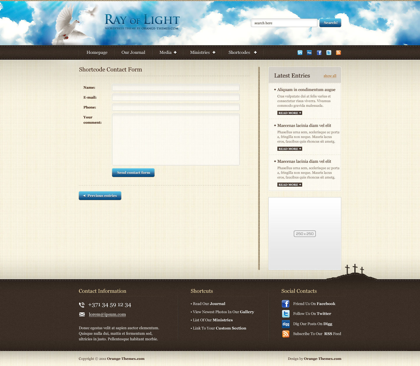 Ray Of Light - Theme For Religious Movements HTML