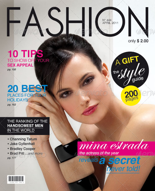 Fashion Magazine Cover Free Psd Template: Magazine Cover Template By Weweb