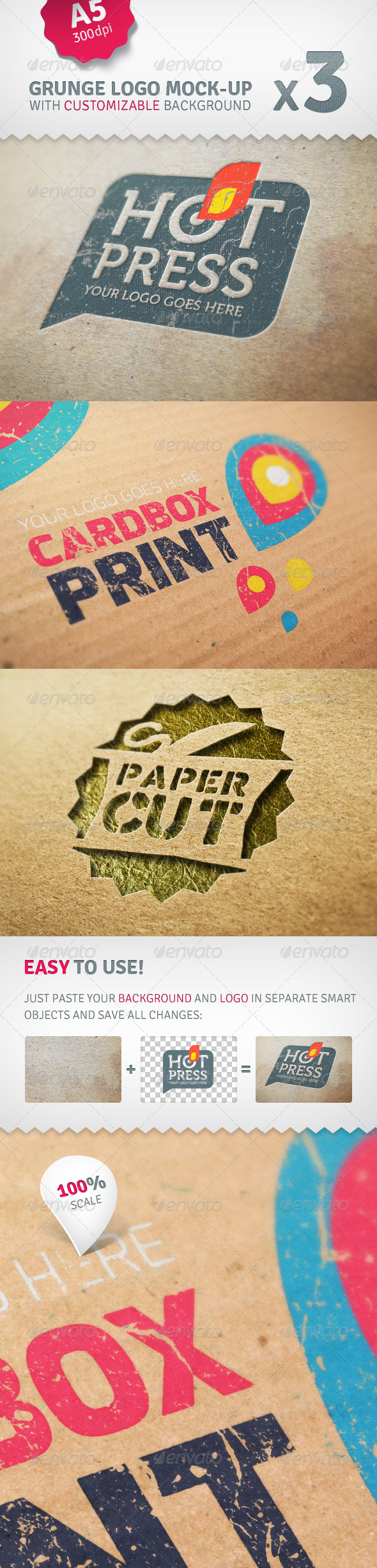 Cardboard Logo Mockup Pack With Custom Backgrounds - Logo Product Mock-Ups